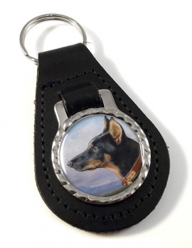Portrait of a Dobermann by Carl Reichert Leather Key Fob