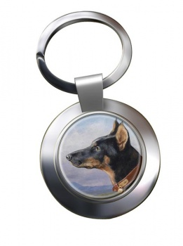 Portrait of a Dobermann by Carl Reichert Metal Key Ring