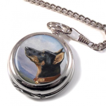 Portrait of a Dobermann by Carl Reichert Pocket Watch