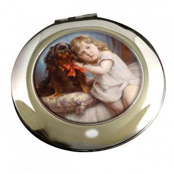 Girl with a King Charles Spaniel by Carl Reichert Mirror