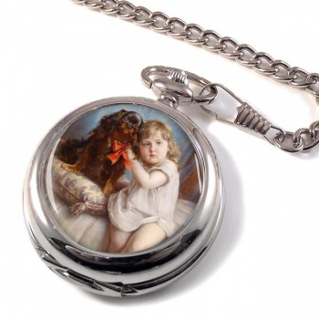 Girl with a King Charles Spaniel by Carl Reichert Pocket Watch