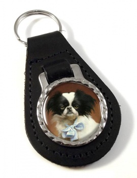 Japanese Chin by Carl Reichert Leather Key Fob