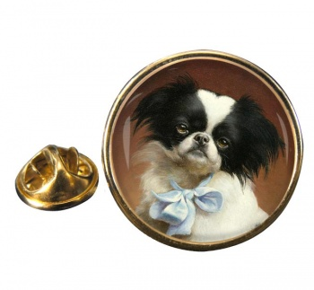 Japanese Chin by Carl Reichert Round Pin Badge