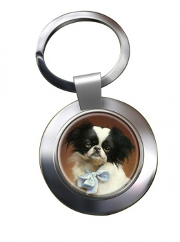 Japanese Chin by Carl Reichert Metal Key Ring