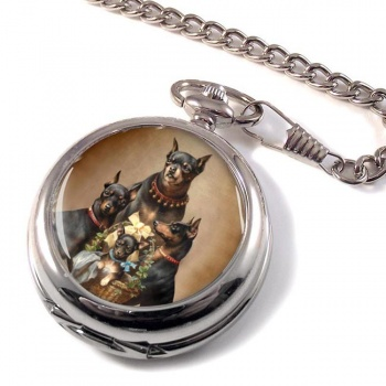 Dobermann family by Carl Reichert Pocket Watch
