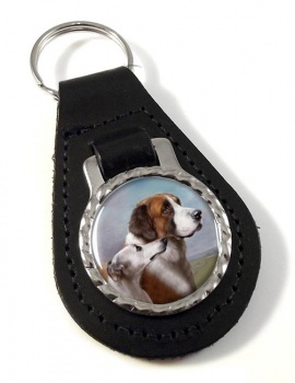 St. Bernard and Whippet by Carl Reichert Leather Key Fob