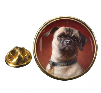 The Pug Dog by Carl Reichert Round Pin Badge