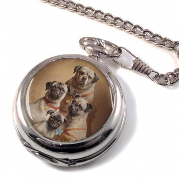 Family of Pugs by Carl Reichert Pocket Watch