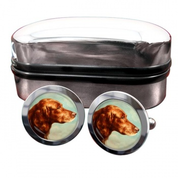 Portrait of an Irish Setter by Carl Reichert  Round Cufflinks
