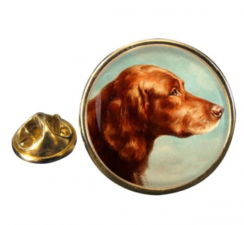 Portrait of an Irish Setter by Carl Reichert Round Pin Badge