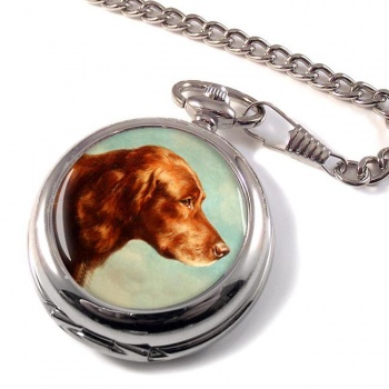 Portrait of an Irish Setter by Carl Reichert Pocket Watch