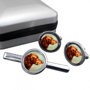 Portrait of an Irish Setter by Carl Reichert  Cufflink and Tie Clip Set