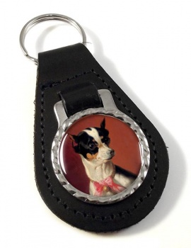 Toy Pinscher by Carl Reichert Leather Key Fob