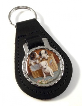Puppies by Carl Reichert Leather Key Fob