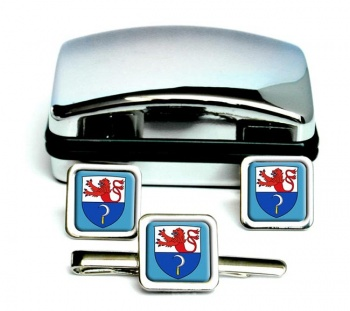 Remscheid (Germany) Square Cufflink and Tie Clip Set