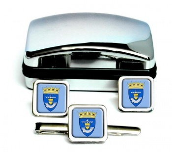 Renfrewshire (Scotland) Square Cufflink and Tie Clip Set