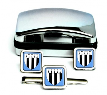 Rennes (France) Square Cufflink and Tie Clip Set