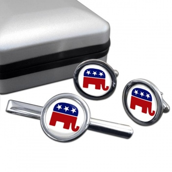 Republican Round Cufflink and Tie Clip Set