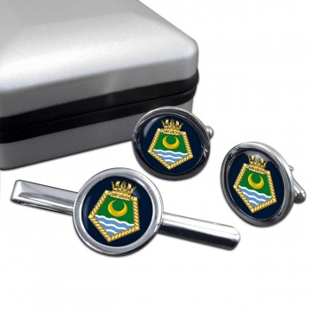 RFA Arethusa (Royal Navy) Round Cufflink and Tie Clip Set