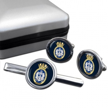 RFA Badge (Royal Navy) Round Cufflink and Tie Clip Set