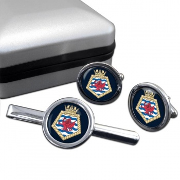 RFA Cardigan Bay (Royal Navy) Round Cufflink and Tie Clip Set