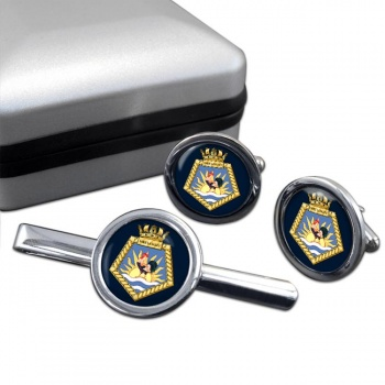 RFA Fort Langley (Royal Navy) Round Cufflink and Tie Clip Set