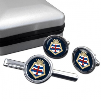 RFA Mounts Bay (Royal Navy) Round Cufflink and Tie Clip Set