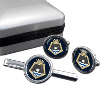 RFA Tidespring (Royal Navy) Round Cufflink and Tie Clip Set