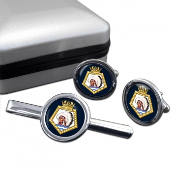 RFA Wave Chief (Royal Navy) Round Cufflink and Tie Clip Set