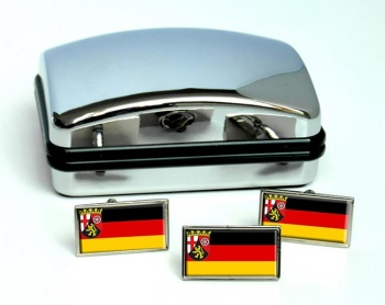 Rheinland-Pfalz (Germany_ Flag Cufflink and Tie Pin Set