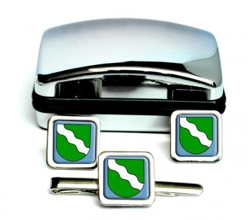 Rheinland (Germany) Square Cufflink and Tie Clip Set