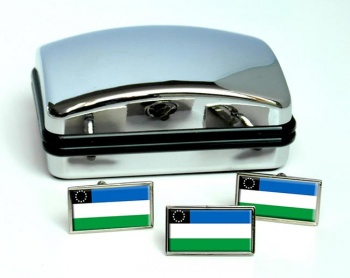 Argentine Rio Negro Flag Cufflink and Tie Pin Set