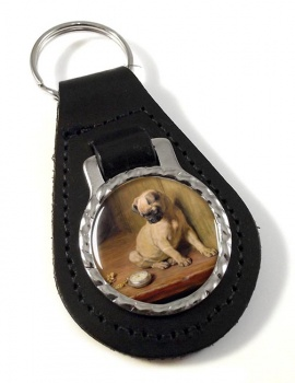 Pug (Tick Tack) by Briton Riviere Leather Key Fob