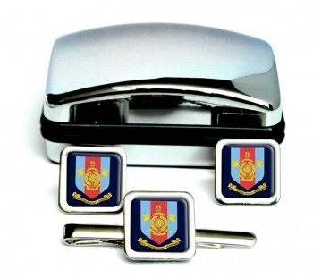 Royal Marines Reserves Merseyside Square Cufflink and Tie Clip Set