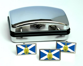 Royal Marines Reserves Scotland Rectangle Cufflink and Tie Pin Set