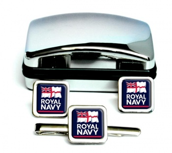 Royal Navy Square Cufflink and Tie Clip Set