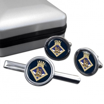 Royal Navy Leadership Academy RNLA Round Cufflink and Tie Clip Set
