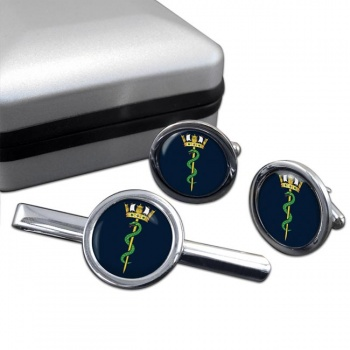 Royal Navy Medical Service Round Cufflink and Tie Clip Set