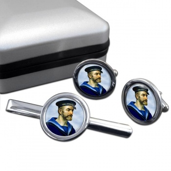 Royal Navy Sailor Round Cufflink and Tie Clip Set