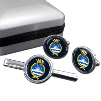Royal Naval Auxiliary Service Round Cufflink and Tie Clip Set