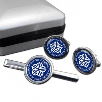 Rochester NY  Round Cufflink and Tie Clip Set
