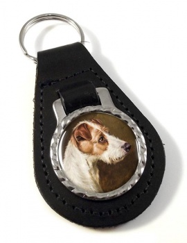 Wire Fox Terrier by Colin Graeme Roe Leather Key Fob