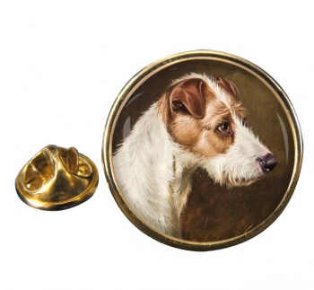 Wire Fox Terrier by Colin Graeme Roe Round Pin Badge
