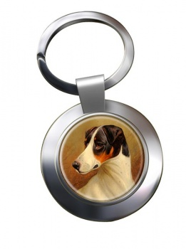 Head Study of a Fox Terrier by Colin Graeme Roe Metal Key Ring