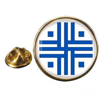 Roman Sacred Cross Round Pin Badge