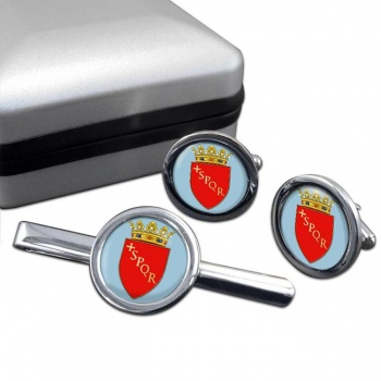 Roma (Italy) Round Cufflink and Tie Clip Set