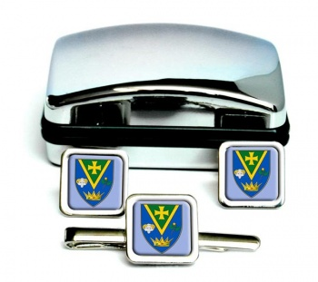 County Roscommon (Ireland) Square Cufflink and Tie Clip Set