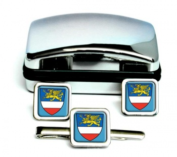Rostock (Germany) Square Cufflink and Tie Clip Set