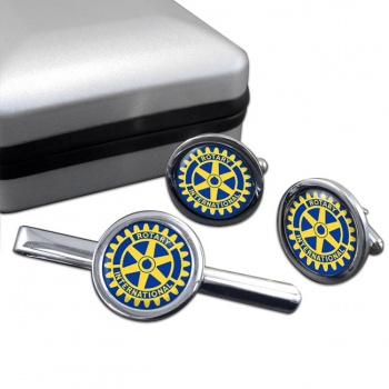 Rotary International Round Cufflink and Tie Clip Set