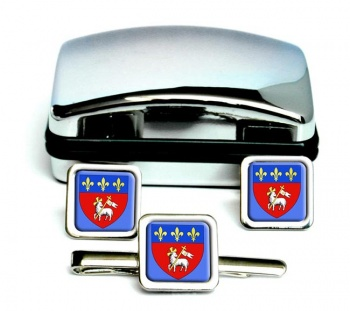 Rouen (France) Square Cufflink and Tie Clip Set
